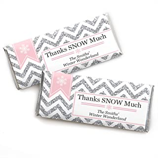 Big Dot of Happiness Personalized Pink Winter Wonderland - Custom Holiday Snowflake Birthday Party and Baby Shower Favors Candy Bar Wrapper - Set of 24