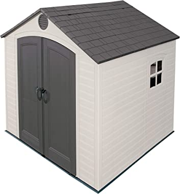 Lifetime 6411 Outdoor Storage Shed with Window, 8 by 7.5 Feet,Putty/Brown