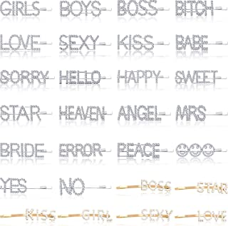 28 Pieces Word Letter Hair Clips Glitter Wedding Crystal Rhinestones Hair Barrettes Love Star Boys Girls Kiss Boss Happy Sweet Yes No Heaven Error Bride Babe Hairpins for Girls (Chic Style)