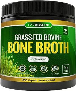 EzyAbsorb Bone Broth Protein Powder, 454g/16oz 30 Servings - Certified Paleo-Friendly - Natural Non-GMO Beef, Gluten Free Unflavored (Grass-Fed)