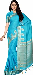 MIMOSA Women's Kanchipuram Crepe Saree With Unstitched Blouse Piece (4005-2108-AND_Turquoise Blue)