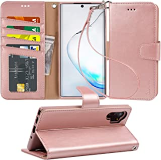 Arae Wallet Case for Samsung Galaxy Note 10 Plus/Note 10 Plus 5G PU Leather flip Cover [Stand Feature] with ID&Credit Cards Pocket for Galaxy Note 10+ / Note 10+ 5G 6.8 inch, Rosegold