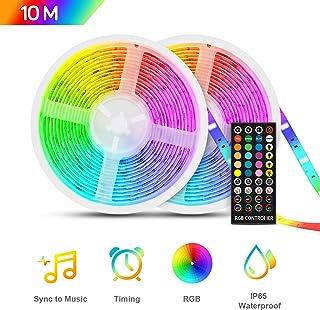 TASMOR Tira LED Música 10M 300LEDs, RGB 5050 Tira LED Iluminación Impermeable Música Activada con Controlador, IP65 Luces de Tira Led Control Musicalpara Decoración de Habitación y Fiestas