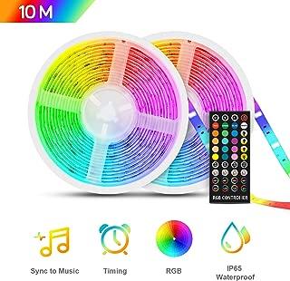 TASMOR Tira LED Música 10M 300LEDs, RGB 5050 Tira LED Iluminación Impermeable Música Activada con Controlador, IP65 Luces de Tira Led Control Musical Inteligente
