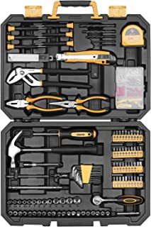 DEKO 196 Piece Tool Set General Household Hand Tool Kit with Rip Claw..