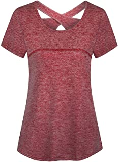 Womens Yoga Tops Short Sleeve Criss Cross Back Loose Workout Tunic Shirts