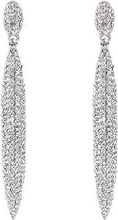 Women's Wedding Bridal Crystal Full Pave Elongated Teardrop Infinity Dangle Earrings