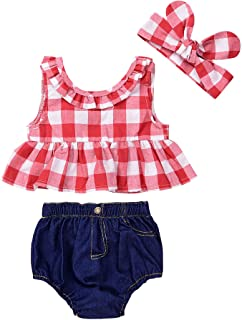 IWOKA Baby Girls Plaid Ruffle Bowknot Tank Top+Denim Shorts Outfit with Headband