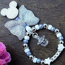 Personalised stunning pram charm in football beads baby girls boys ideal gift