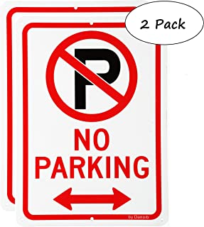 No Parking Signs with Arrows,10x7 Rust-Free Aluminum UV Printed, Two Pre-drilled Holes for Easy to Mount,Weather Resistant Long Lasting Ink for Driveways/Bussiness/Garage/Yard/Mail Box