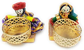 JH Gallery Handmade Recycled Material Puppet Diyas, Multicolor (7.5 cm x 7.5 cm, Pack of 1 Pair)