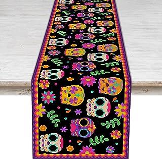 Camino de mesa Día de los Muertos Día de los Muertos, mantel de día festivo de México, cocina, comedor, decoración del hogar