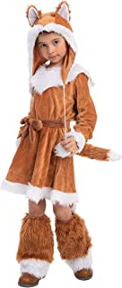Sweet Girls Fox Costume Set for Halloween Dress Up Party, Role-Playing, Carnival Cosplay, Jungle-Themed Party