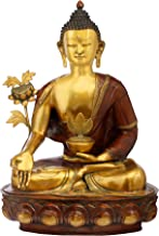 Idol Collections Large Vintage Medicine Buddha Brass Statue, Brown