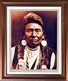 Impact Posters Gallery Framed Wall Decoration Chief Joseph Nez Perce Native American Mahogany Picture Art Print (18x22)
