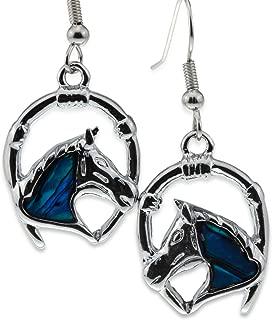 Horse Earrings [Abalone Paua Shell] w/Lucky Horseshoe