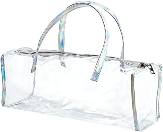 Family Size Travel Toiletry Case - Clear PVC Luggage Organizer Bag for Men and Women - Large (Silver Hologram)