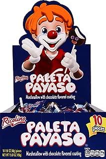 Ricolino Paleta Payaso – Marshmallow Lollipop Candy with Chocolate Flavor Coating - 10 Lollipops