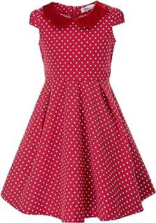 5117b32c9fac7 Danna Belle Fille Robe Vintage Col Rond À Pois A-Line Coton Princesse Fête