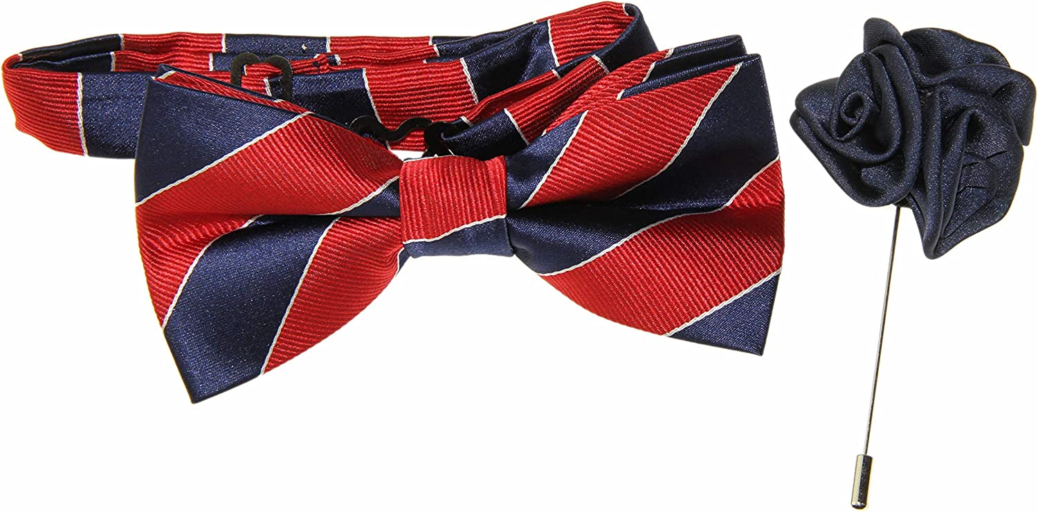 Men's Red & Navy Blue Striped Pre-Tied Bow Tie & Navy Floral Lapel Stick Pin