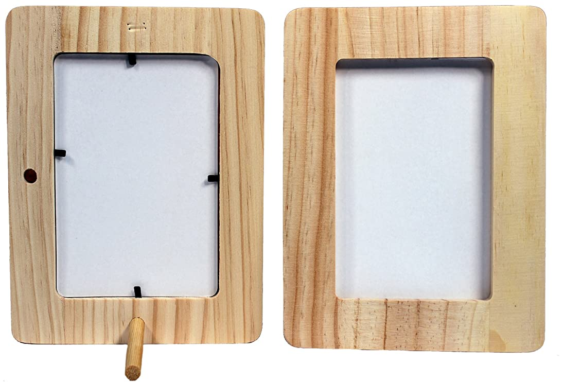 Creative Hobbies Unfinished 1/2 Inch Thick Wood Craft Picture Frame Holds 4x6 Inch Photo - Peg Stand Included