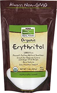 NOW Foods, Organic Erythritol, Pleasant Sweetner for Reduced-Calorie and Sugar-Free Recipes, Zero-Calorie, Low Glycemic Im...