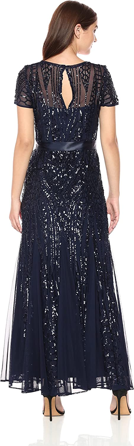 R/&M Richards Womens One Piece Short Sleeve Embelished Sequins Gown