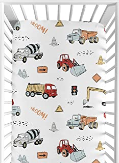 Sweet Jojo Designs Construction Truck Boy Fitted Crib Sheet Baby or Toddler Bed Nursery - Grey Yellow Orange Red and Blue ...