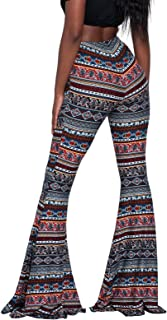 Govc Women Casual Print Stretchy Bell Bottom Flare Palazzo Skinny Pants High Waist Trousers
