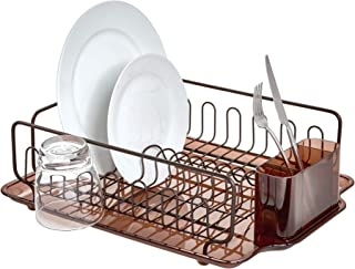 InterDesign Forma Lupe Stainless Steel Metal Sink Dish Drainer Plastic Tray Kitchen Drying Rack for Glasses, Silverware, Bowls, Plates, Utensils, Set of 1, Bronze