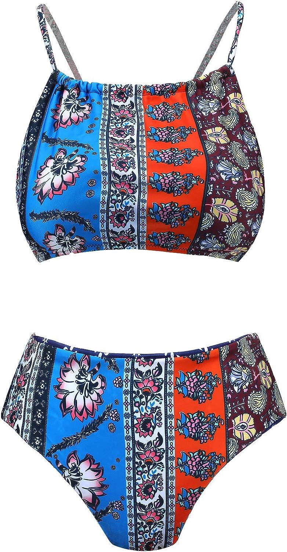 Women Two Piece Set Padded Vintage Halter Bikini Double-Sided Cut Floral Print Swimsuit