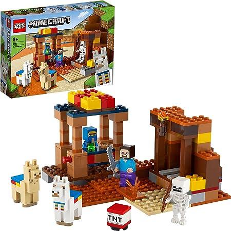 LEGO Minecraft Il Trading Post, Set da Costruzione con Figure di Steve, Scheletro e 2 Lama, Giocattoli per Bambini di 8 Anni, 21167