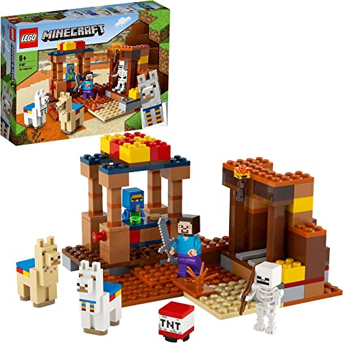 LEGO 21167 Minecraft Le comptoir d'échange, Jeu de Construction avec Les Figurines de Steve, Squelette et Lamas, Joue...