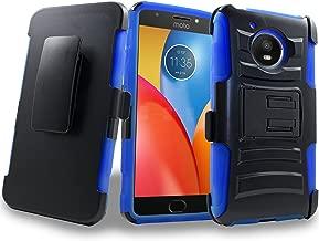 Moto E4 Case, 2017 Motorola Moto E4th Generation Holster Clip, Shock Absorbing Swivel Locking Belt Defender Heavy Full Body Kickstand CarryingArmor Cases Cover (Blue)