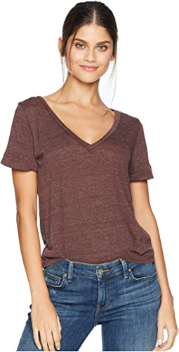 Tri-Blend Jersey Vent Back V-Neck Rolled Sleeve Tee