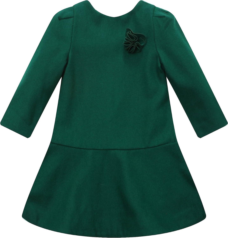 Richie House Girls' Woolen Dress with Flower Brooch Rh1207