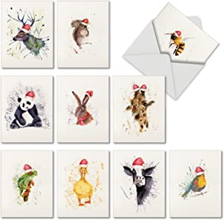 Wildlife Expressions - 10 Watercolor Christmas & Holiday Cards with Envelopes (4 x 5.12 Inch) - Blank Note Card Assortment for Kids, Adults M2973XSB