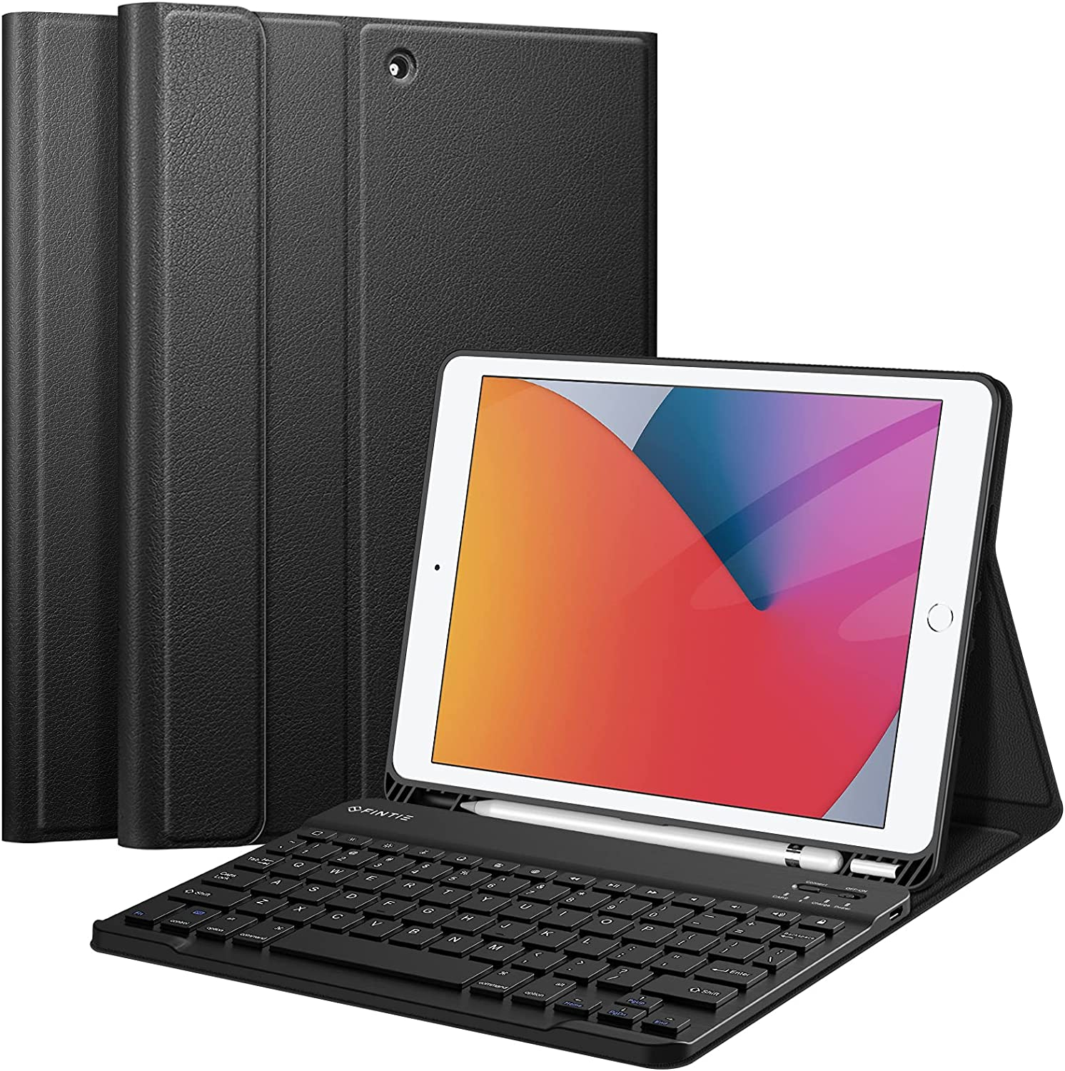 Fintie Keyboard Case for iPad 9th / 8th / 7th Generation (2021/2020/2019) 10.2 Inch, Soft TPU Back Stand Cover with Pencil Holder, Magnetically Detachable Wireless Bluetooth Keyboard, Black