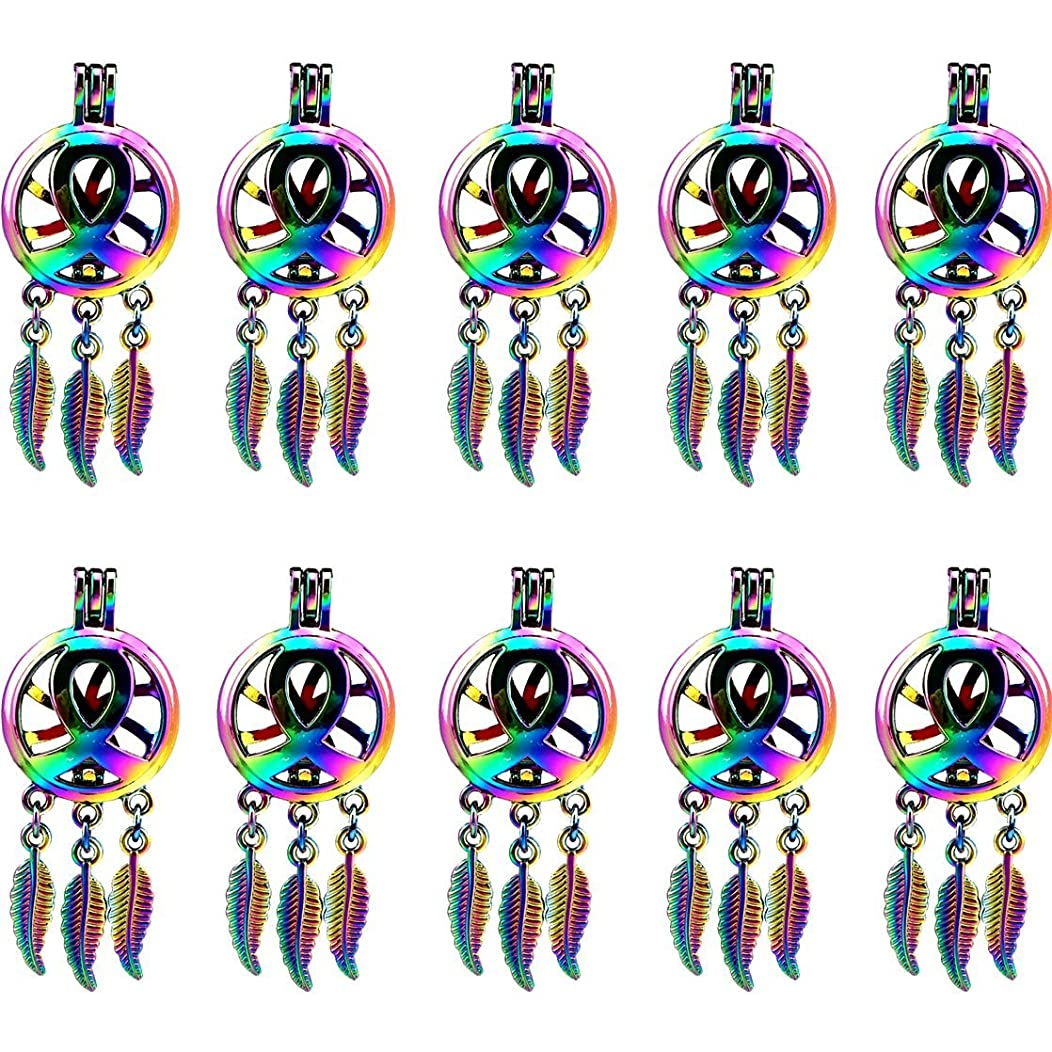(10 Pack) Rainbow Color Ribbon Dream Catcher Beads Cage Locket Pendant Charms