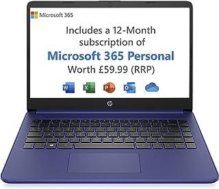 HP Stream 14s-fq0023na 14 Inch Laptop, Blue (AMD Athlon 3020e, 4 GB RAM, 64 GB eMMC, Windows 10 Home S) - Microsoft 365 (12 Month Free Subscription Included)