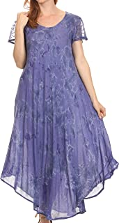 Sayli Long Tie Dye Cap Sleeve Embroidered Wide Neck Caftan Dress/Cover Up