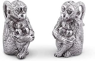 Arthur Court Aluminum Monkey Salt and Pepper Set 4 inches tall