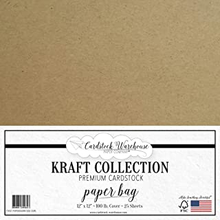 Paper Bag Kraft Recycled Cardstock - 12 x 12 inch - Premium 100 LB. Cover - 25 Sheets from Cardstock Warehouse