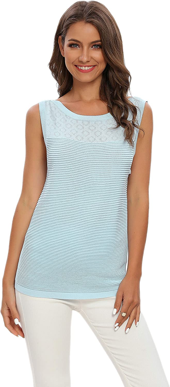 ALCEA ROSEA Women's Knit Sleeveless Sweater Vest Ribbed Soft Basic Tanks Tops