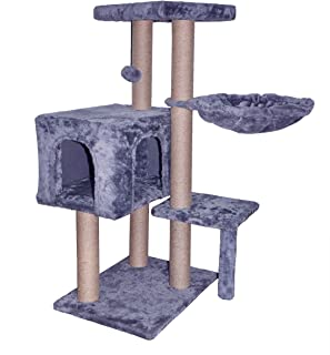 TINWEI Cat Tree Has Cat Condo with Cat Hammock and Hanging Toy Ball,Grey