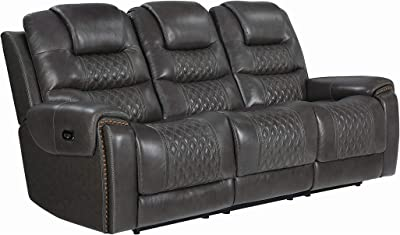 Amazon Com Homelegance Center Hill 83 Double Glider Reclining Loveseat With Console Dark Brown Leather Gel Match Furniture Decor