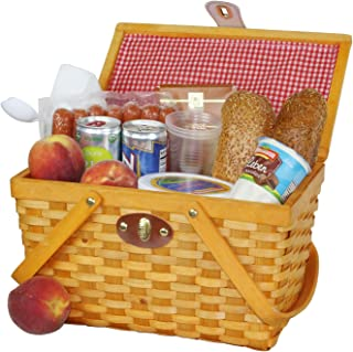 Vintiquewise(TM) QI003081 Gingham Lined Picnic Basket with Folding Handles