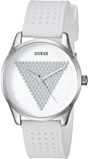 209d4f481 GUESS Women's Stainless Steel Japanese Quartz Watch with Silicone Strap,  White, 18 (Model