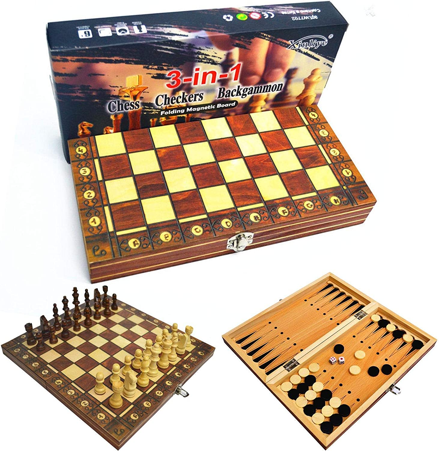 Houston Mall PUTAOYOU 3 in quality assurance 1 Chess Set Multi- Game Wooden Board Folding