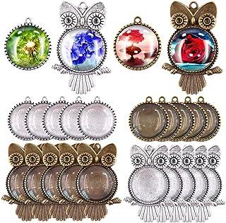 Swpeet 48Pcs 2 Shapes Pendant Trays Kit, 12Pcs Owl Pendant Trays and 12Pcs Round Tree Bezel Pendant Trays with 24Pcs Glass...